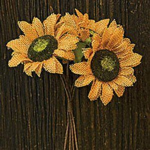 "Burlap Sunflower bunch - Six 11"" Stems"